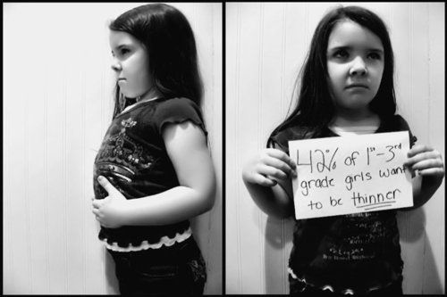 """""""42% of 1 - 3 grade girls want to be thinner"""" I was one of those girls and was smaller than the girl in the picture. What a fucked up world this is."""