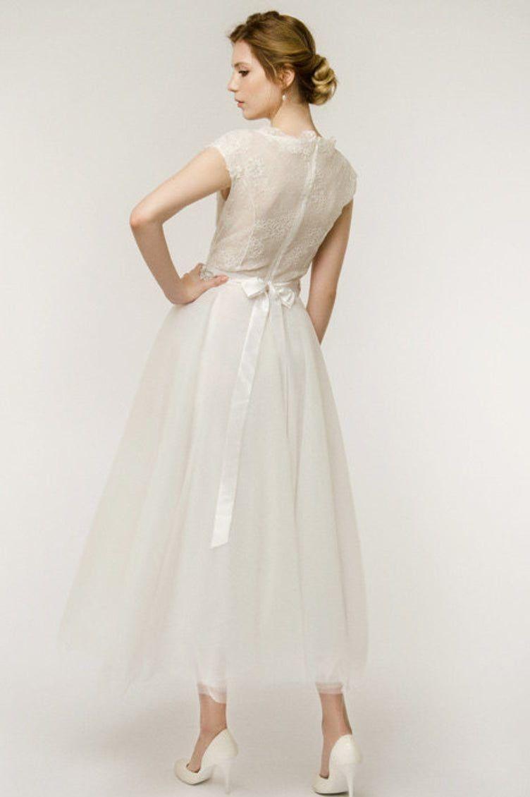 Audrey Ivory TeaLength Modest Wedding Dress with Cap