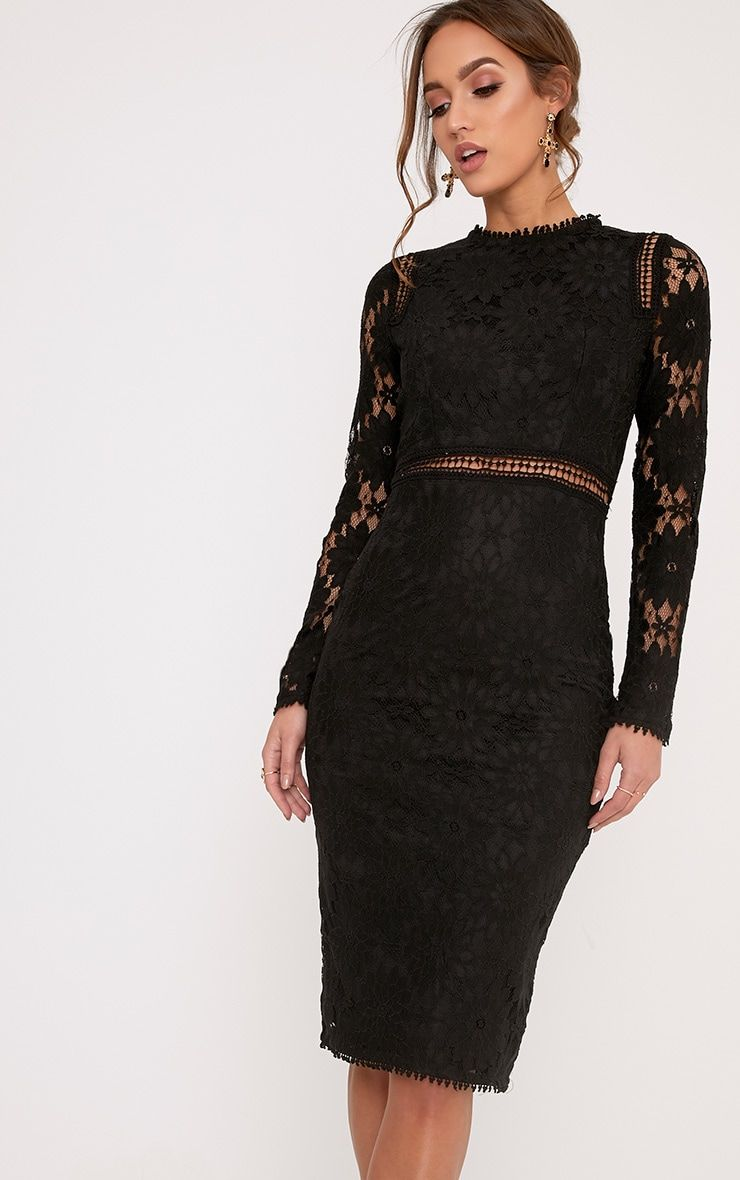 Caris Black Long Sleeve Lace Bodycon Dress | Mid length