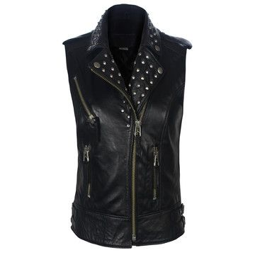 Studded Vest Womens Black, $399, now featured on Fab.