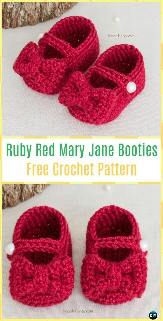 Crochet Ruby Red Mary Jane Booties Free Pattern Crochet Baby