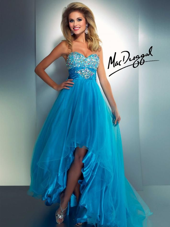 Neon Orange Strapless High-Low Prom Dress\