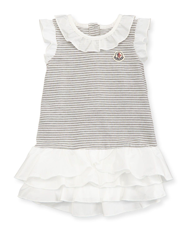6328511a7 Ruffle-Trim Striped Pique Dress, Gray/White, Size 3-24 Months, Size:  18/24M, Grey/White - Moncler