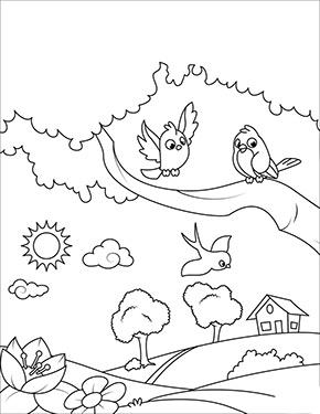 ausmalbild frühling - vögel auf dem ast zum ausdrucken und