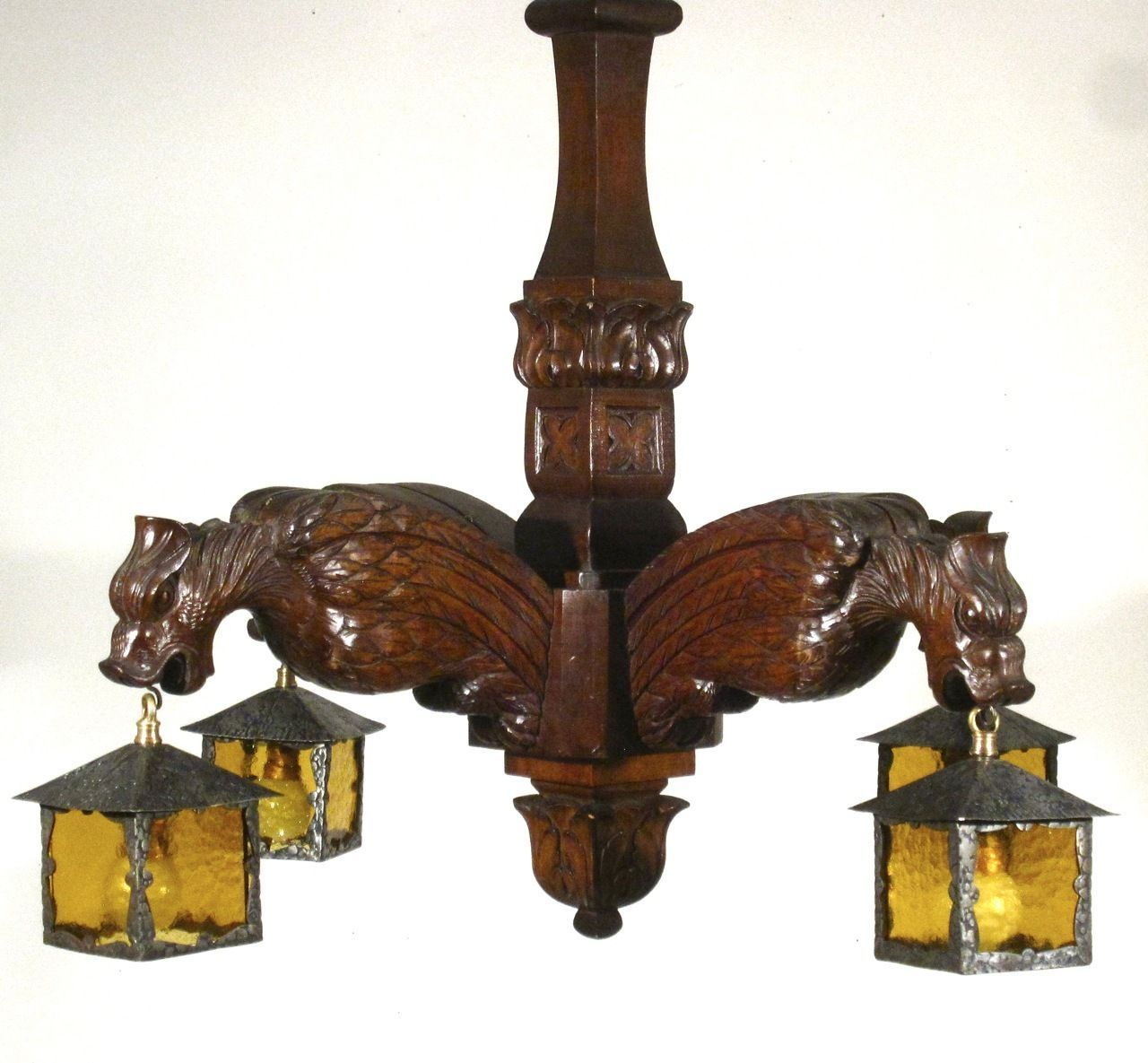 Antique French Gothic Gargoyle Wooden chandelier with Lanterns – Stores That Sell Chandeliers