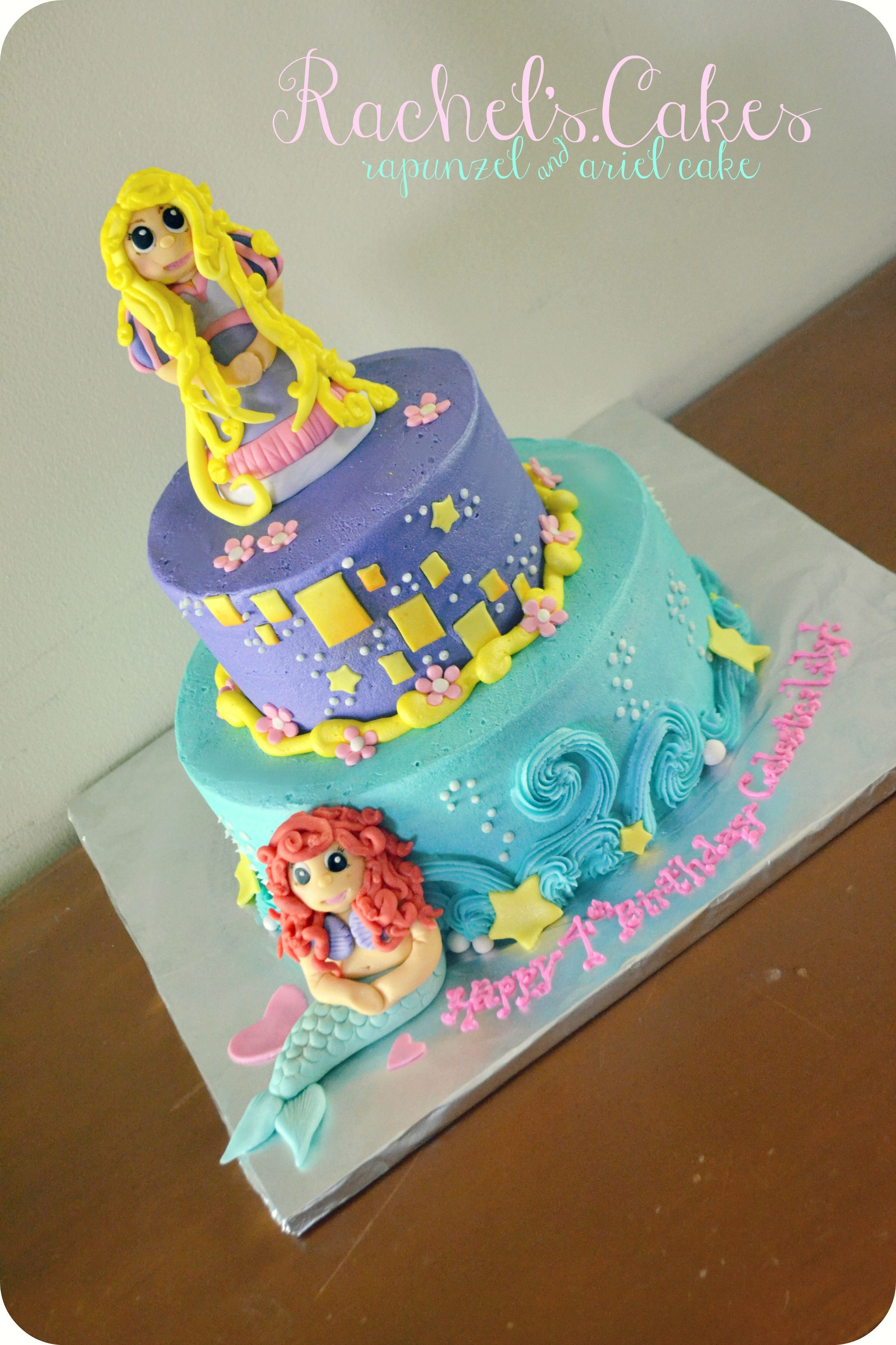 rapunzel and ariel cake My Own Cakes Pinterest Ariel cake
