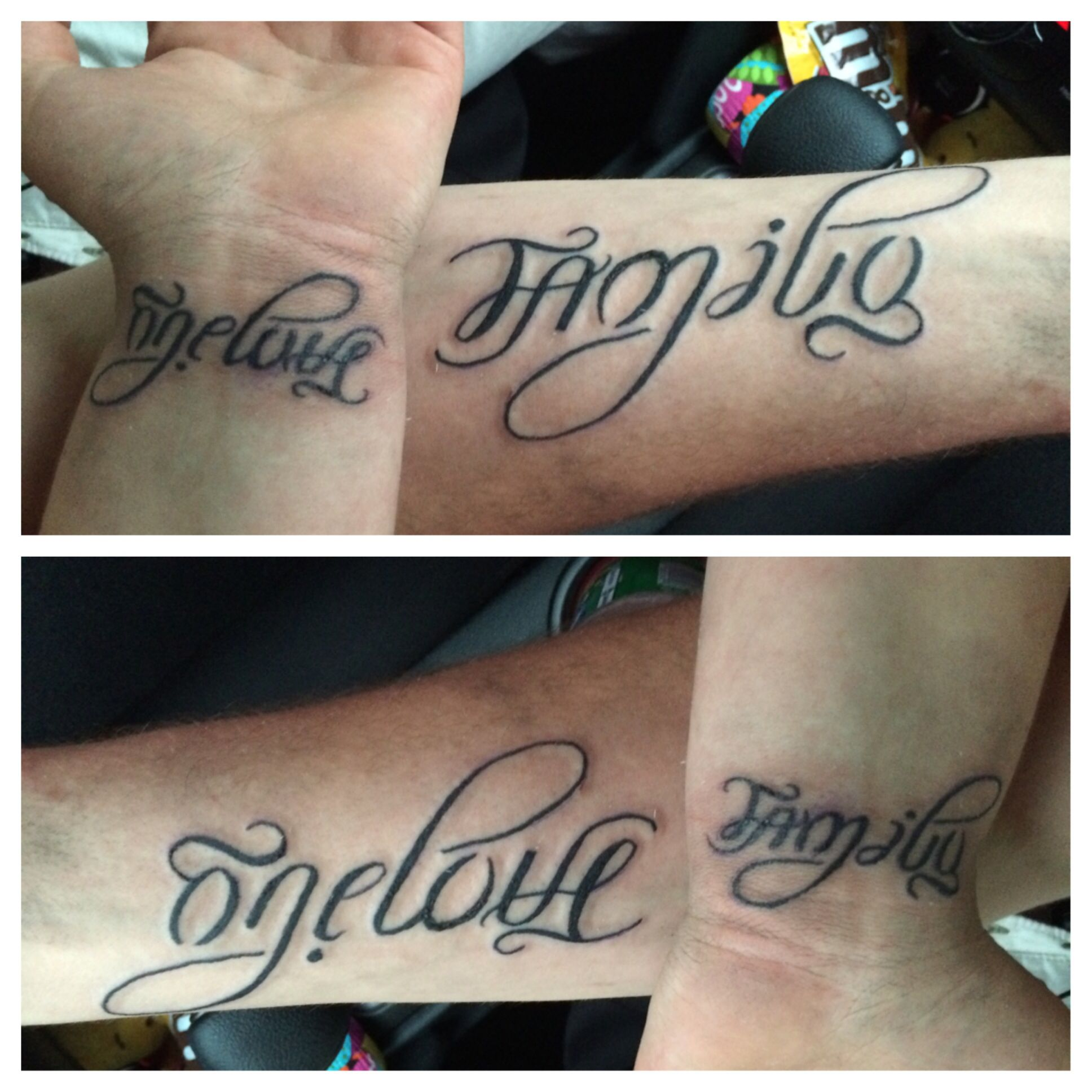 my boyfriend and my matching tattoos! family/one love ambigram. WE LOVE IT!