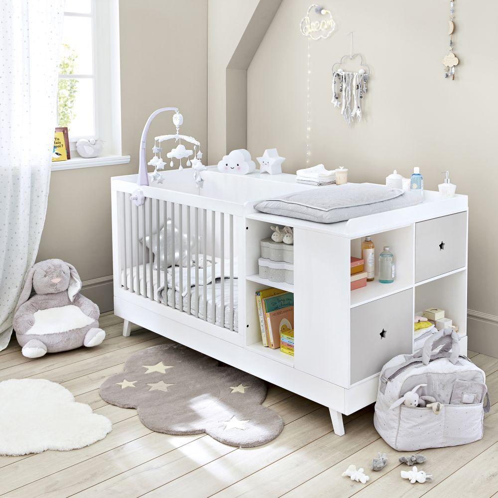 Lit Bebe Combine Blanc Et Gris L190 Maisons Du Monde Baby Room Design Nursery Baby Room Baby Room Decor