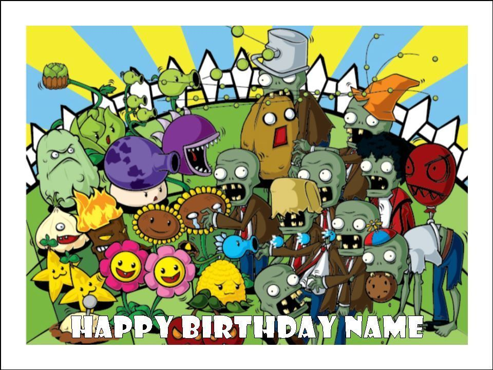 Details about PLANTS vs ZOMBIES A4 Edible Icing Birthday