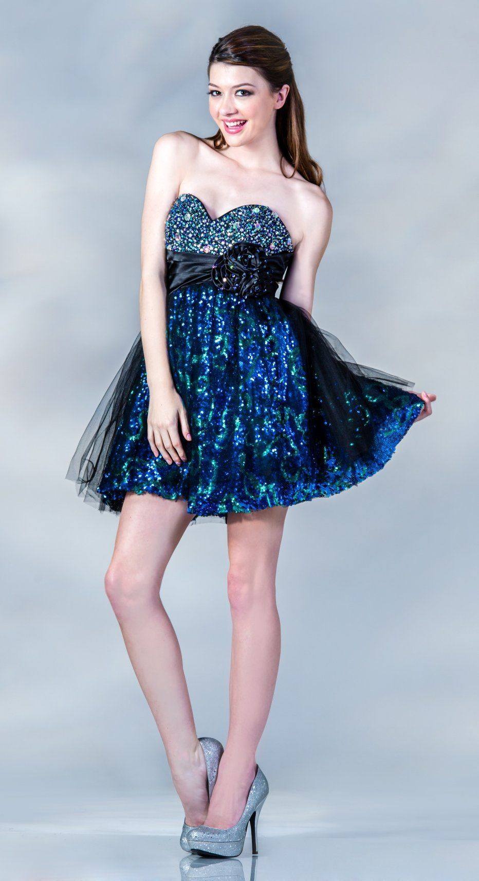 Short blue formal dress above knee strapless rhinestone sweetheart