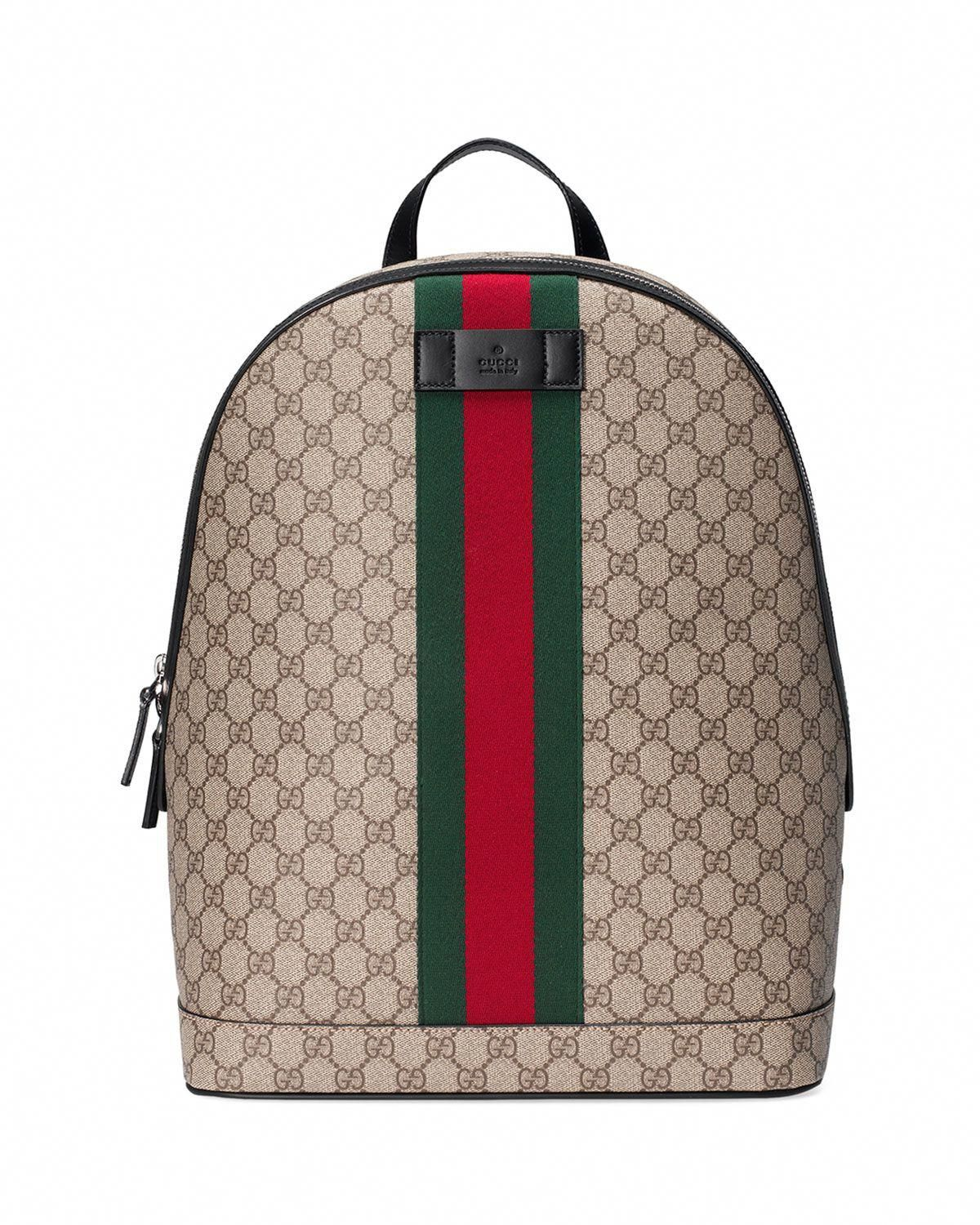 329cb80e9d6 GUCCI MEN S GG SUPREME WEB BACKPACK WITH LAPTOP SLEEVE