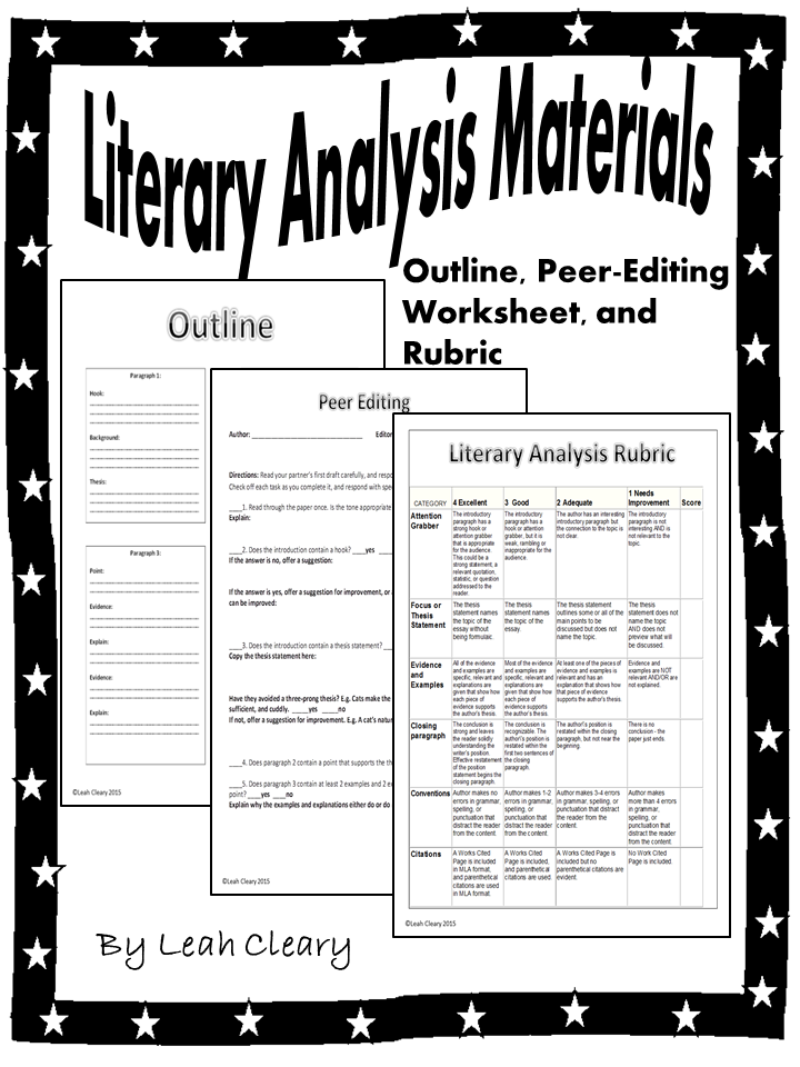 Literary Analysis Handouts  Paragraph Worksheets And Students