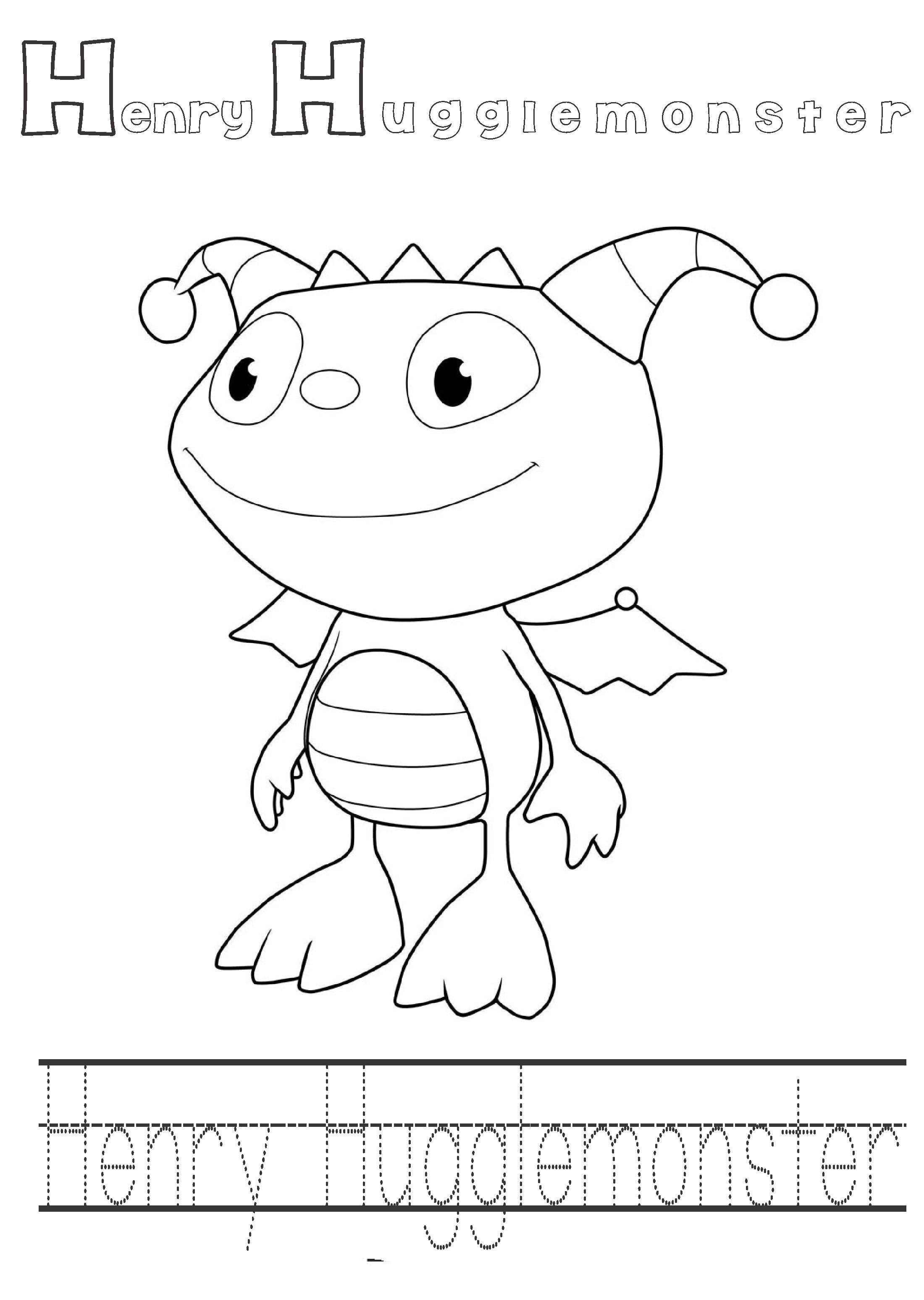 Printable Cartoon Henry Hugglemoster Coloring Pages For