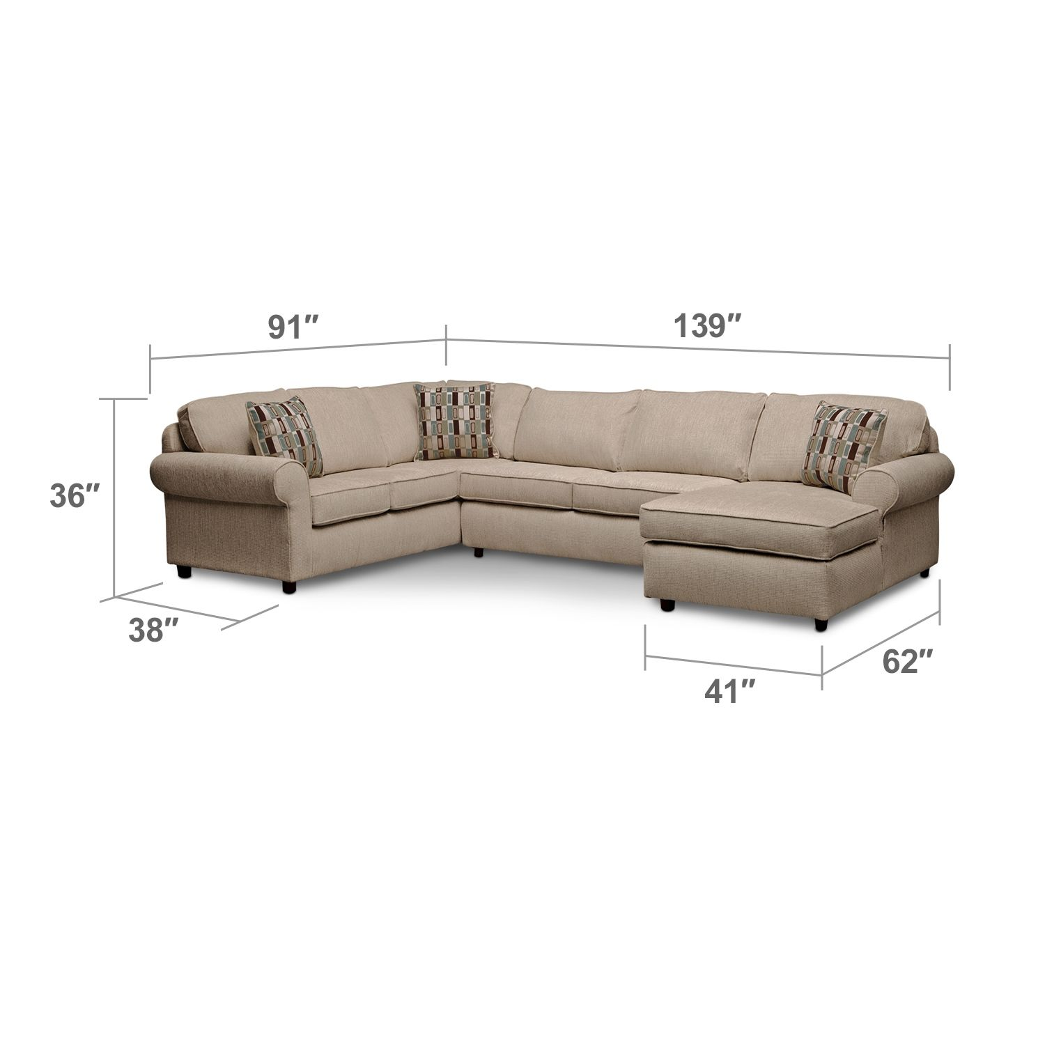 Living room furniture cordoba 2 pc sectional - Room Monarch Ii 3 Piece Sectional American Signature Furniture