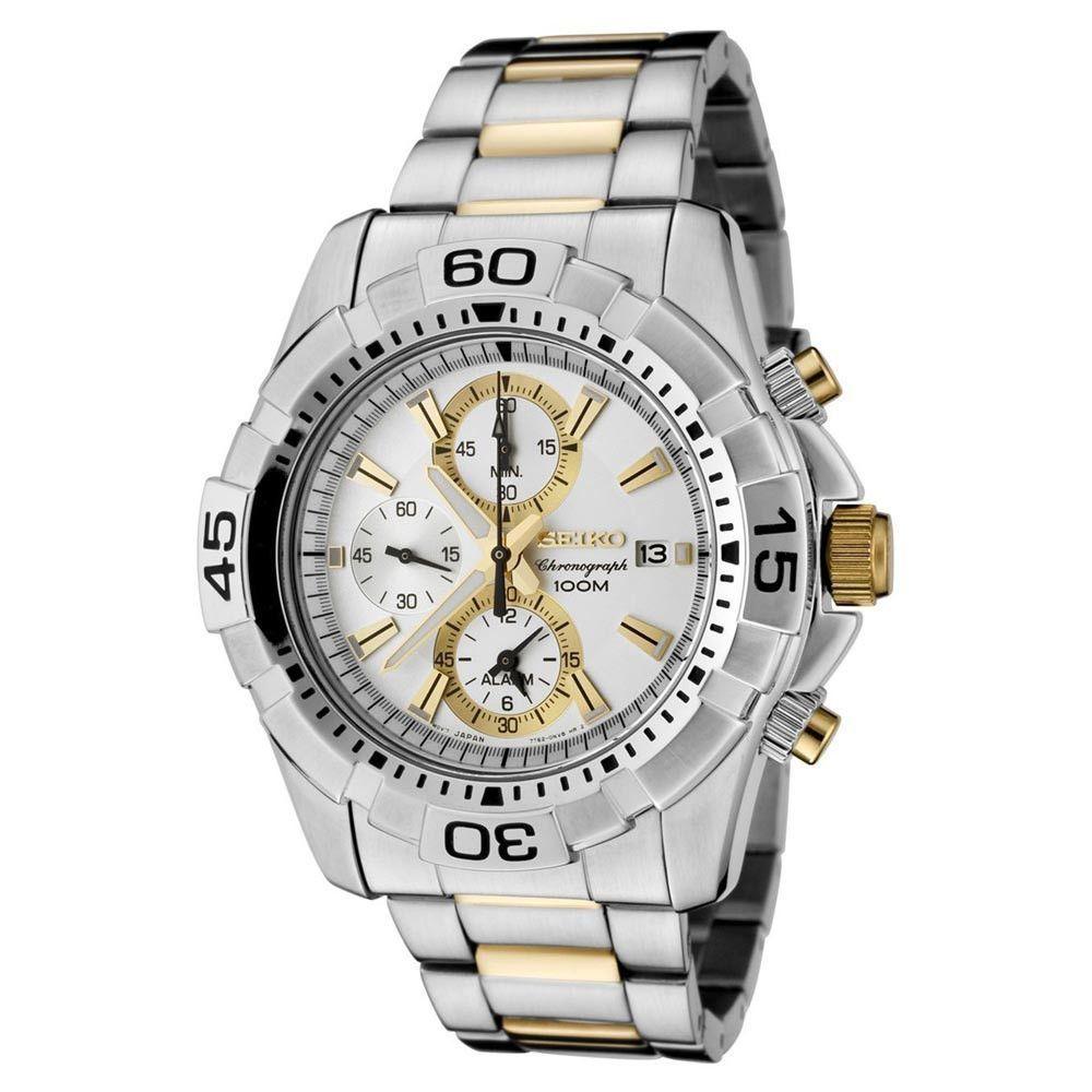 128c4648ccb Seiko SNAE27 Men s Alarm Silver Dial Two Tone Steel Bracelet Chrono Watch