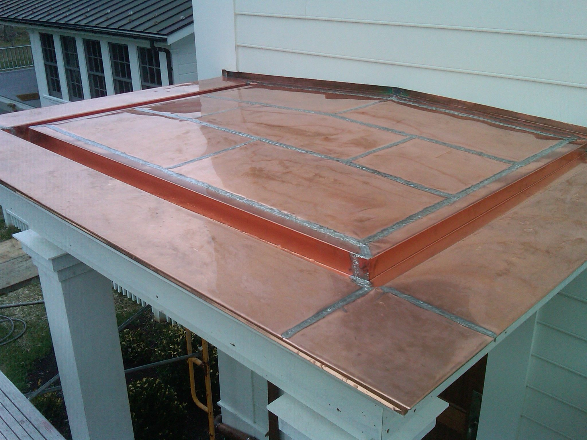 Flat Seamed Copper Porch Roof With Built In Gutter
