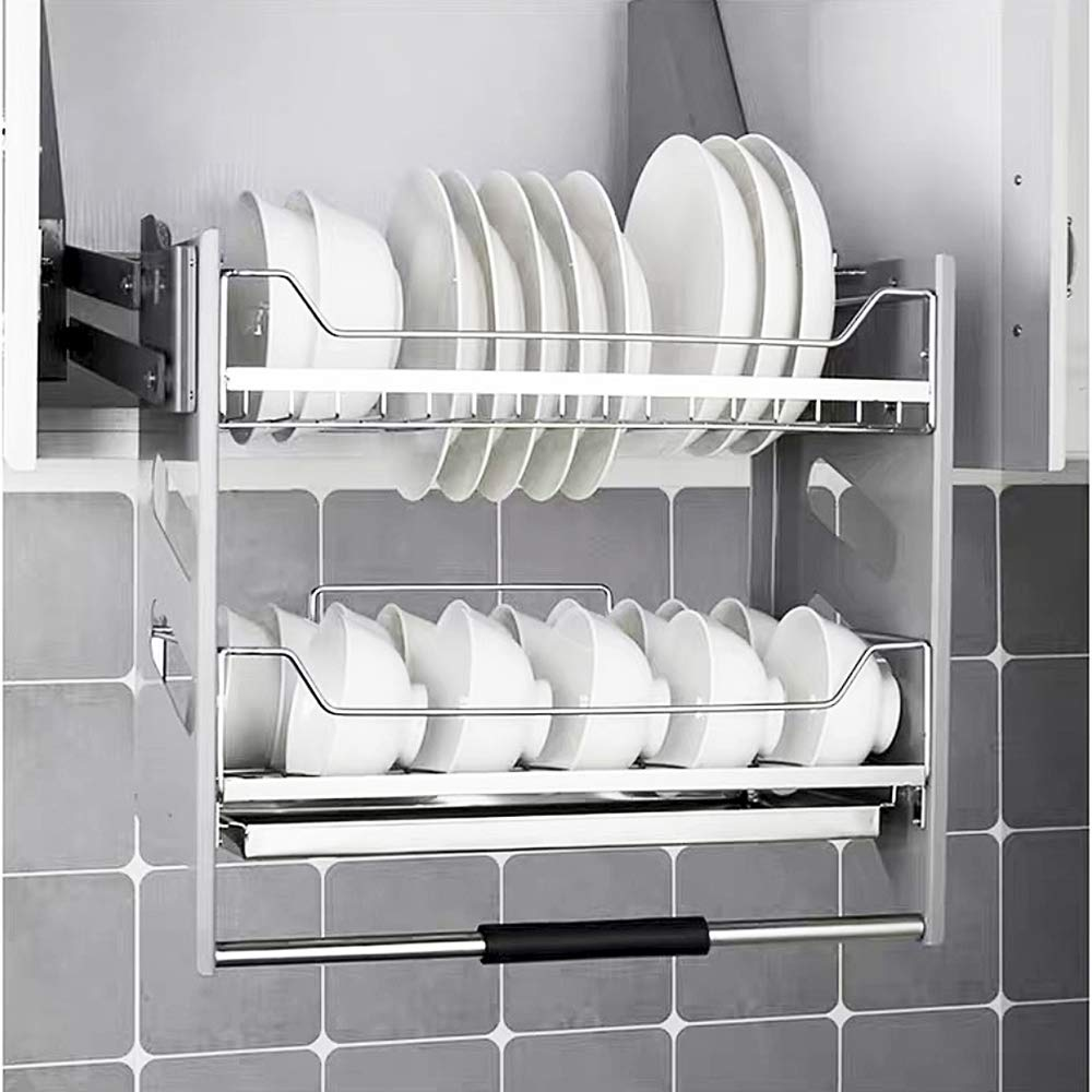 Amazon Com Whifea Pull Down Dish Rack System Kitchen Shelf 2 Tier Upper Cabinet Organizer For In 2020 Cabinet Organization Hanging Kitchen Cabinets Kitchen Shelves