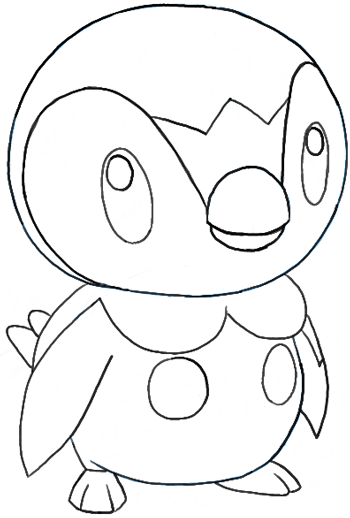 How To Draw Piplup From Pokemon Easy Pokemon Drawings Easy Drawings Pikachu Drawing