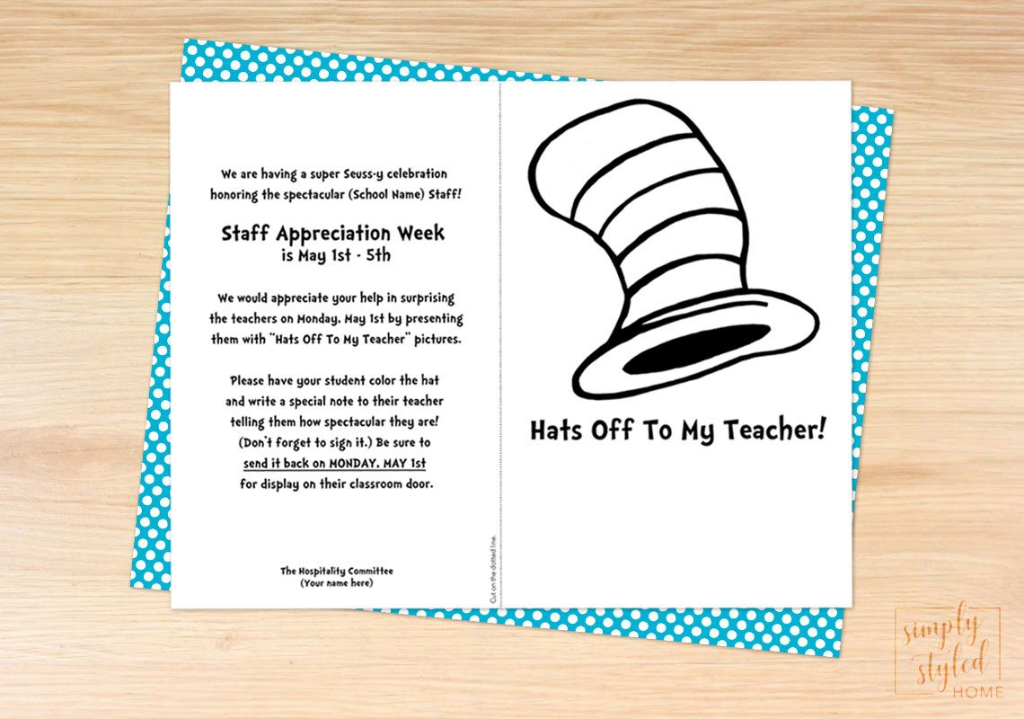 Dr Seuss Inspired Hats Off Coloring Sheet For Teacher