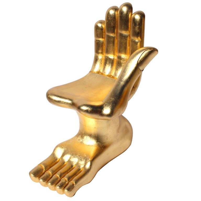 Iconic Pedro Friedeberg Surrealist Gilt Hand Foot Chair. (signed)