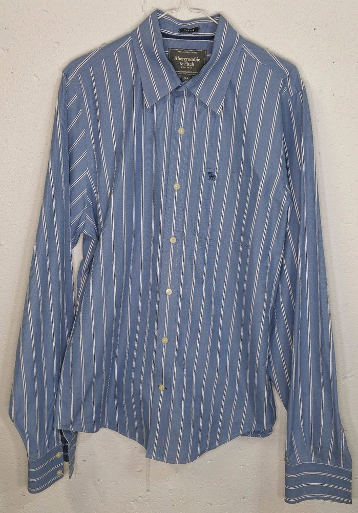A&F Abercrombie Muscle Mens Blue Striped 100% Cotton Long Sleeve Dress Shirt XL #AbercrombieFitch