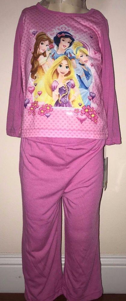Disney Princesses Girls Pink 2 Piece Long Sleeve Pajama Set Size 2T