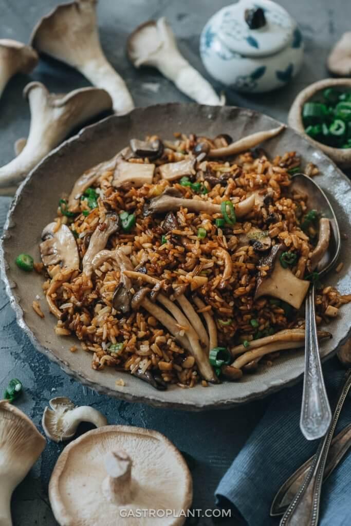 Mushroom Fried Rice Recipe In 2020 Stuffed Mushrooms Mushroom Fried Rice Plant Based Recipes Dinner