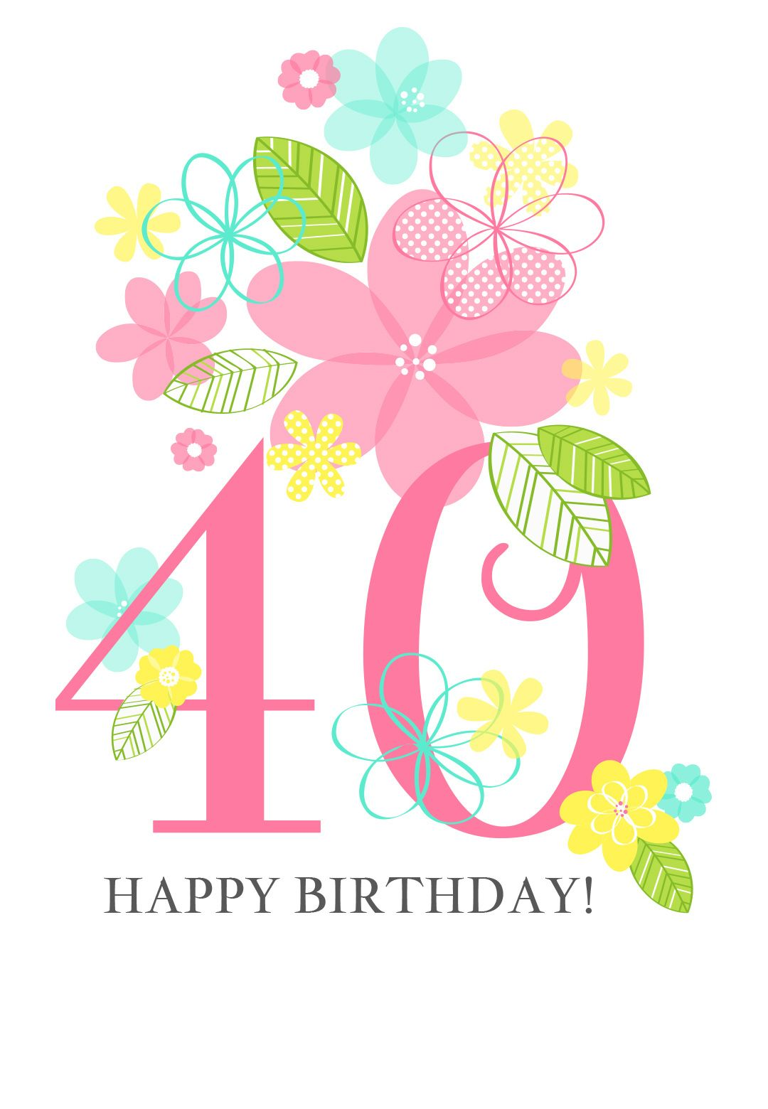 Floral Ladies 40th Free Printable Birthday Card Greetings Island