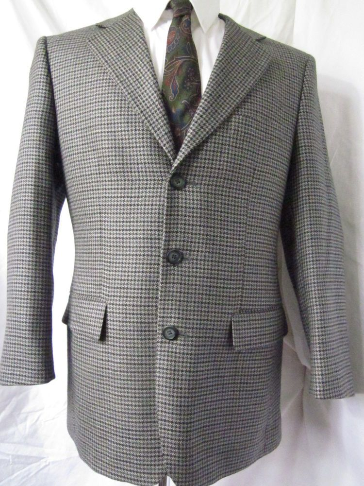 Jacket 38 Short Protocol Bowhill Houndstooth Tweed Wool Sport ...