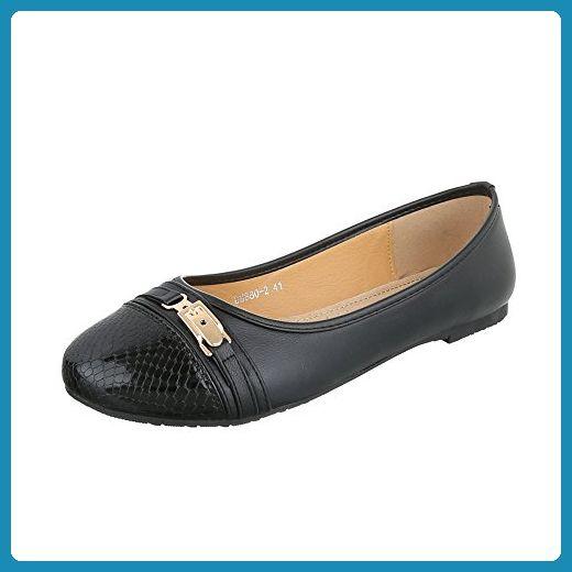 Ballerinas Damen-Schuhe Geschlossen Blockabsatz Blockabsatz Ital-Design  Ballerinas Schwarz, Gr 43,