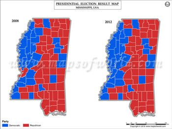 Mississippi Election Results Map 2008 Vs 2012 USA Presidents