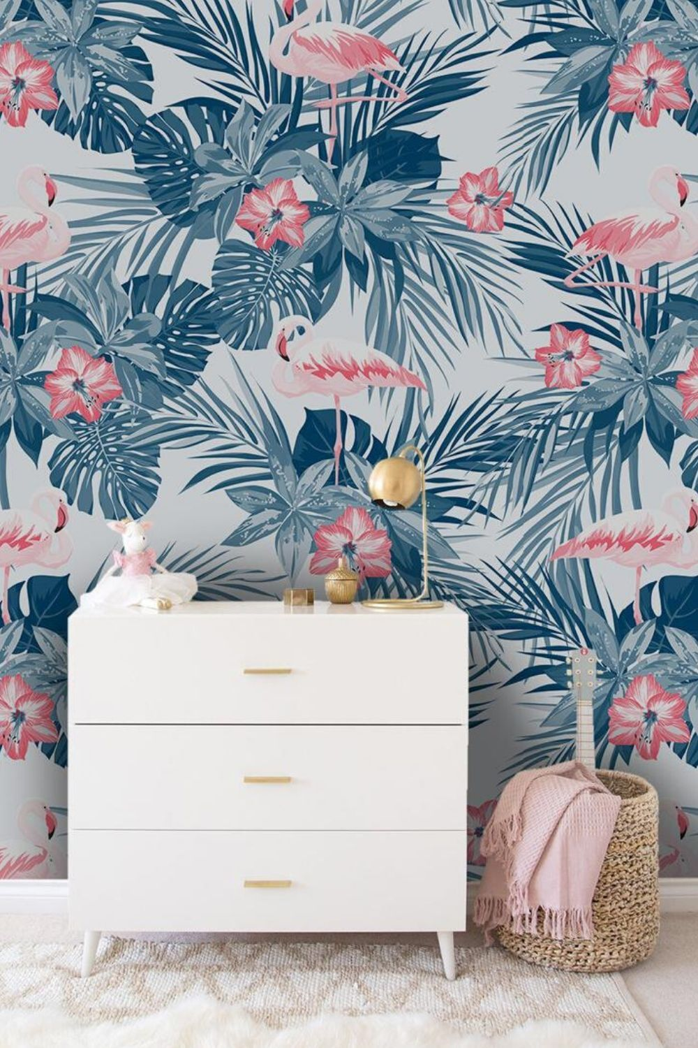 Indigo Tropical Flamingo Birds Removable Wallpaper Pink And Etsy In 2021 Removable Wallpaper How To Install Wallpaper Photo Mural