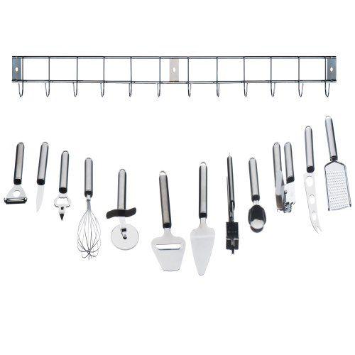 VonShef 12 Piece Stainless Steel Kitchen Utensils U0026 Gadget Set With Utensil  Hanging Rack / Bar