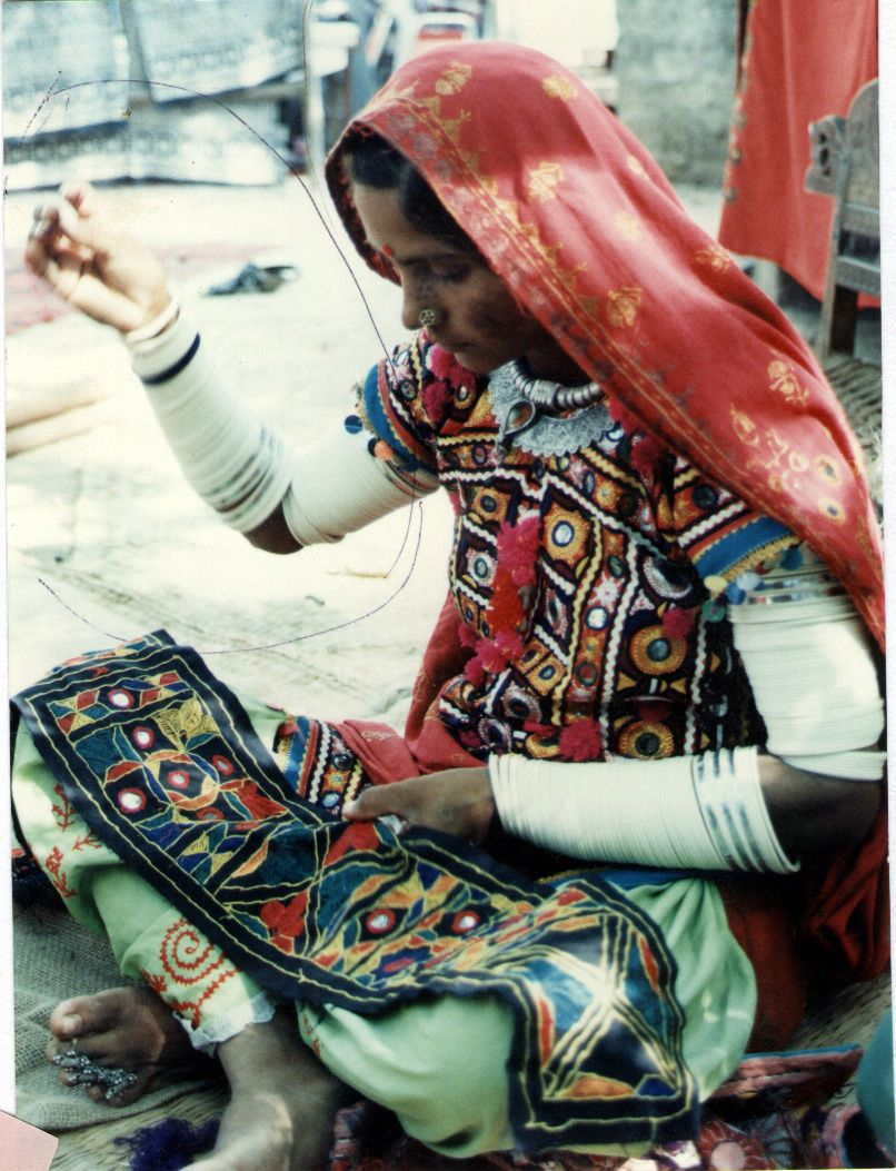 Handicrafts Woman Embroiders Traditional Textile Pakistan