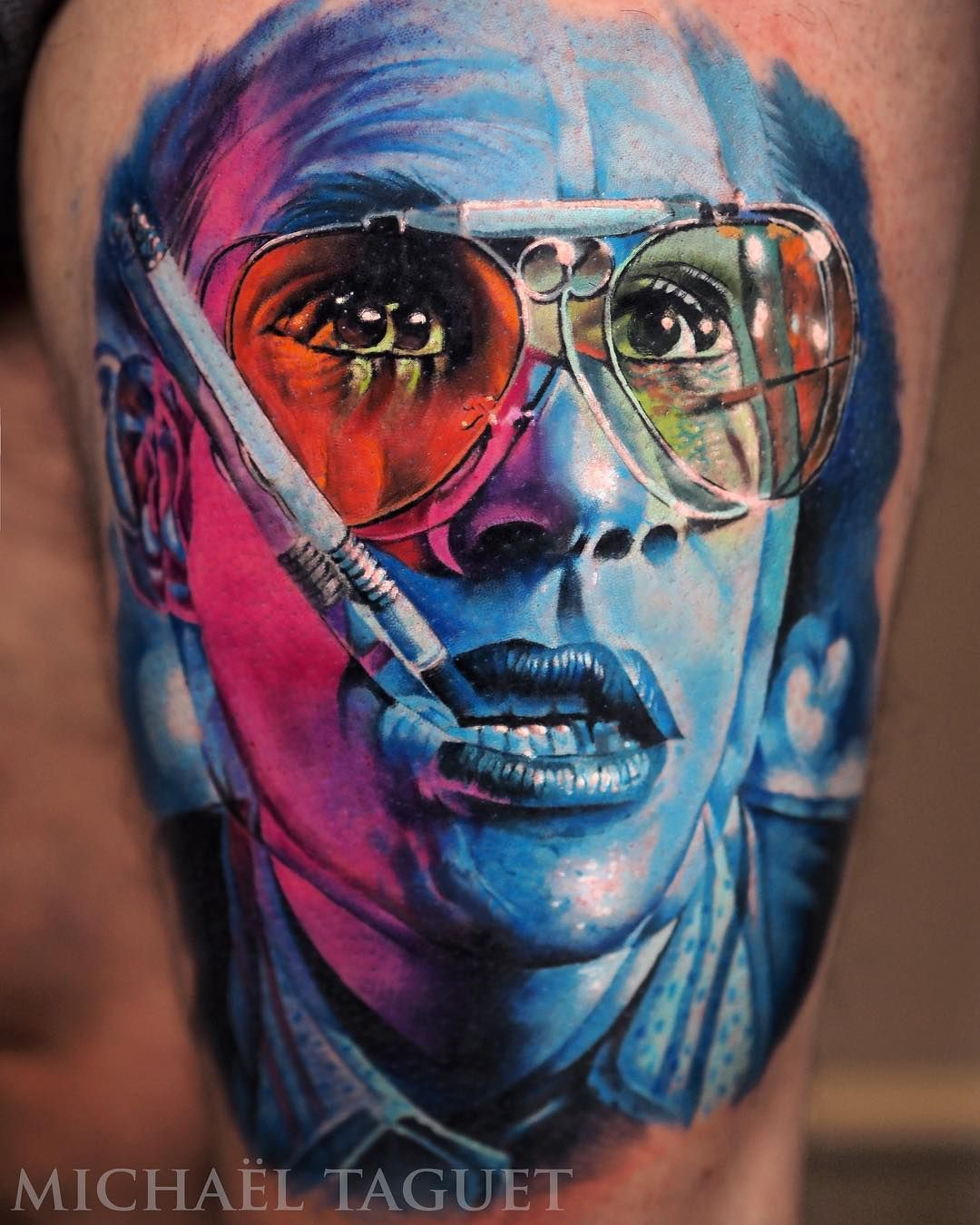 Awesome Realistic Tattoo By Michael Taguet Psychedelic Tattoos Realism Tattoo Fear And Loathing