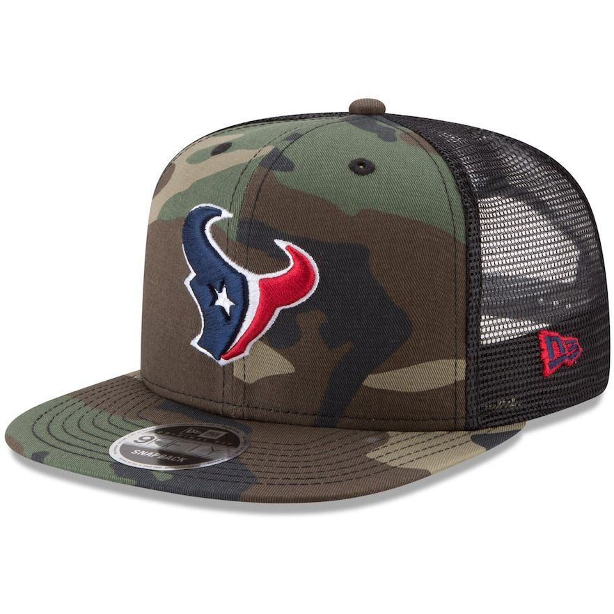 new high look for limited guantity Men's New Era Woodland Camo/Black Houston Texans Trucker 9FIFTY ...