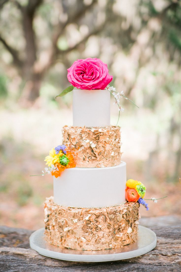 Gold Wedding Cake Colorful Orlando Luxury