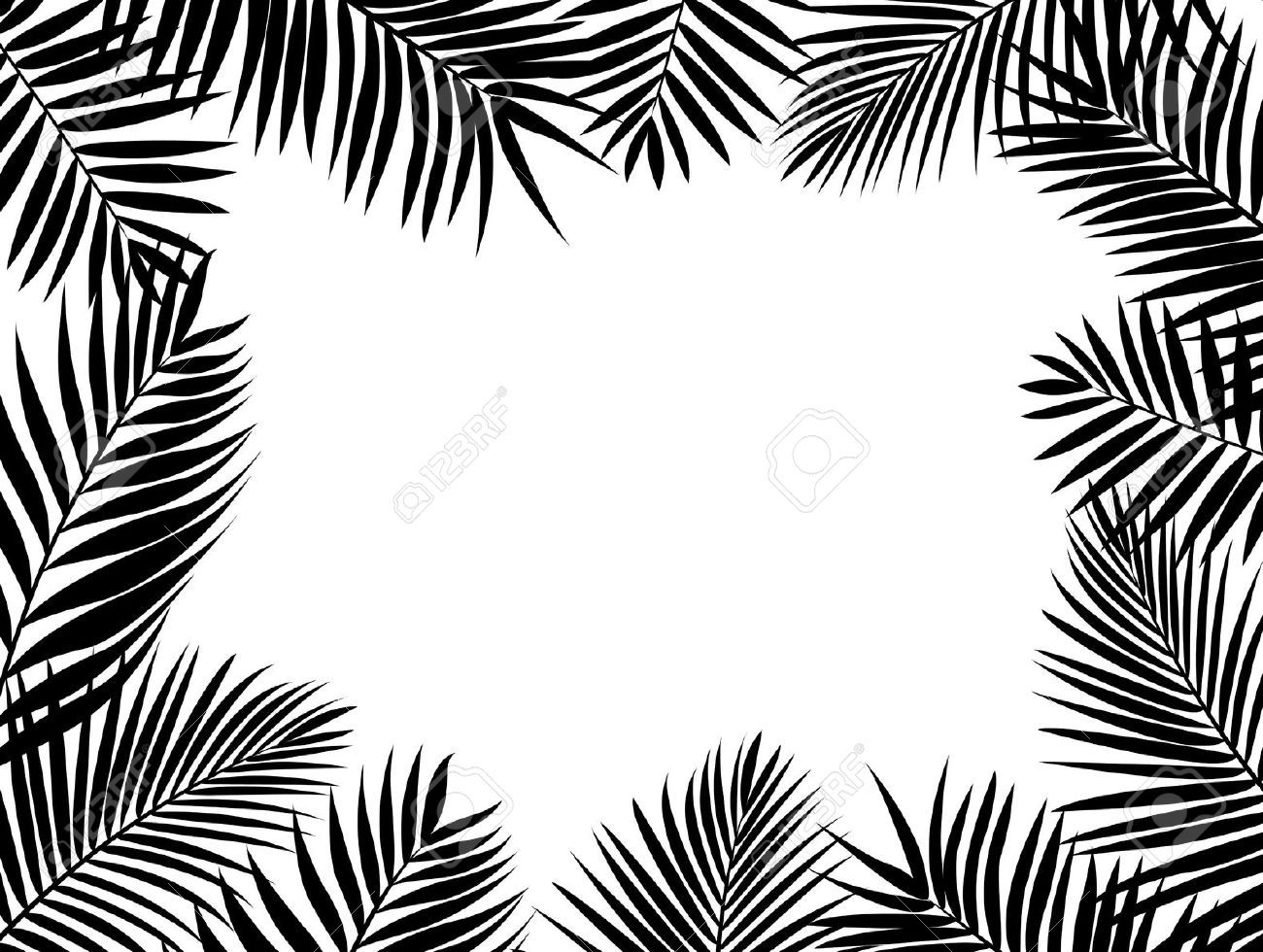 Palm Tree Leaves Clipart Black And White