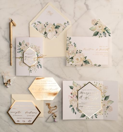 Gold Glamour Wedding Invitations Uk geometric Heart Vellum Glitter Envelope with Ivory  Flowers Wax Seal
