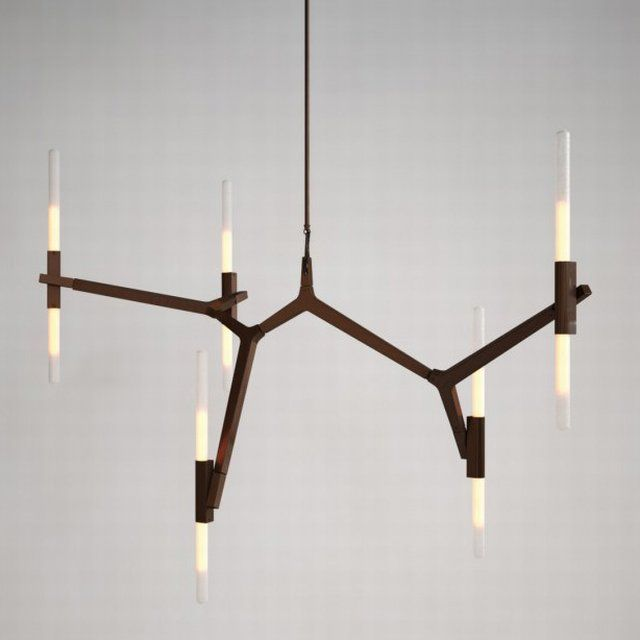 """Agnes is an elegant design, featuring a modular structure which can be assembled in configurations starting from a small, 10-light chandelier to a large, 40-light chandelier or even larger sizes. """"Agnes, in its ideal state, would be a very large fixture. You could fill up a whole ceiling,"""" says the designer. Articulated joints allow for the bulbs to be rotated and arranged in a multitude of ways. The bulbs can be completely vertical, which is churchlike and formal. When the angles change, it…"""