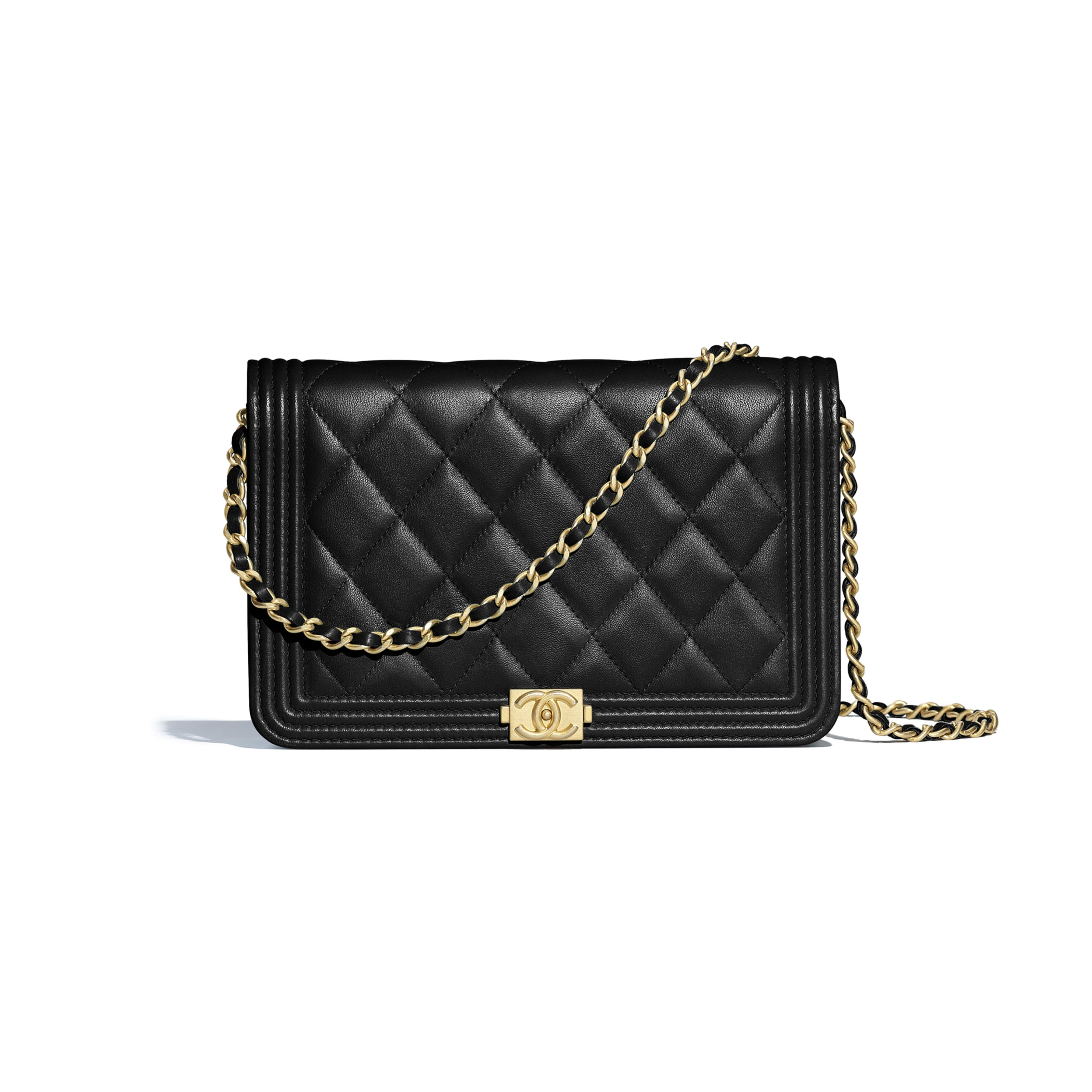 b8be5854c88e BOY CHANEL Wallet on Chain Lambskin & Gold-Tone Metal Black - view 1 - see  full sized version