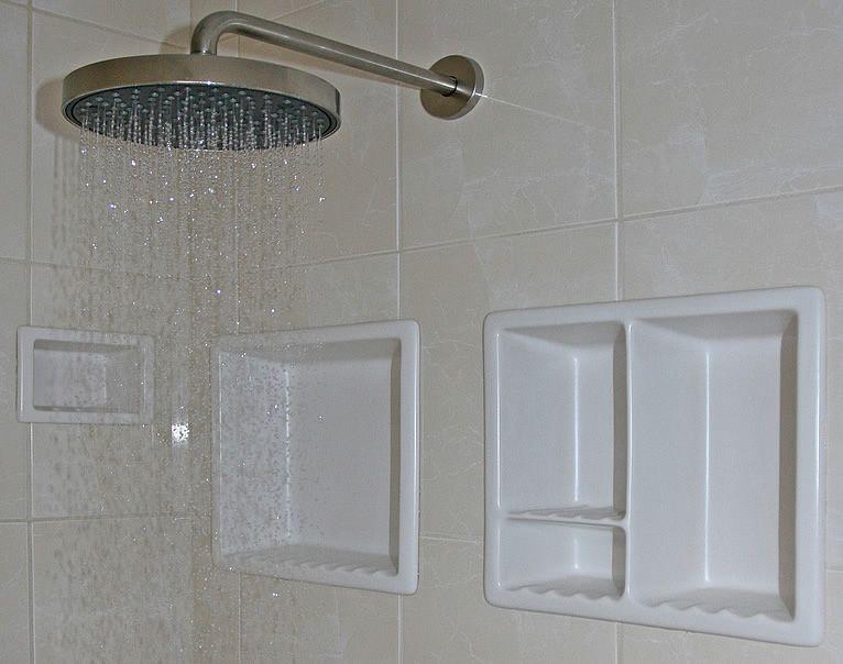 Contemporary Shower Niche Recessed Shelves Design Ideas: Grandiose Chrome  Rain Head Shower With Recessed Soap/shampoo Shower Niche For Ceramic  Materials In ...