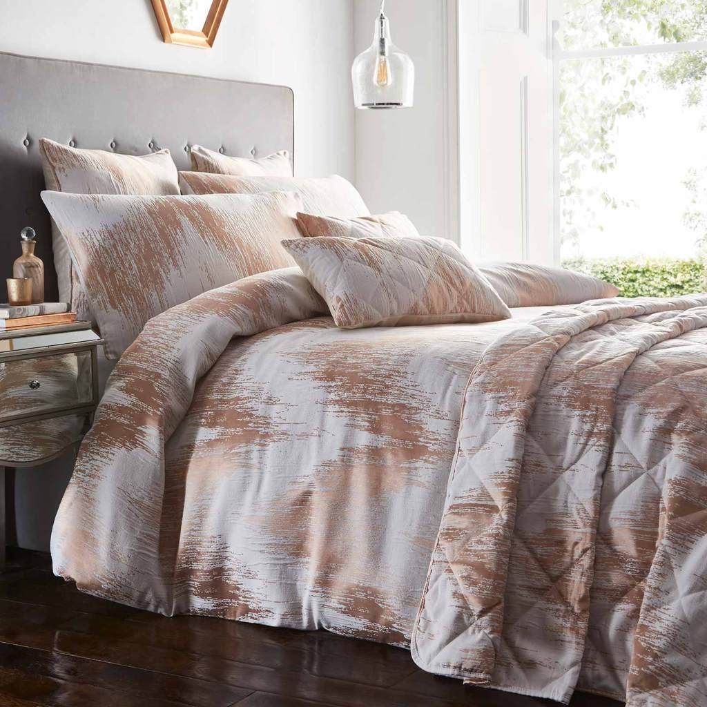 Quartz Jacquard Rose Gold Duvet Cover Set in 2020 Duvet