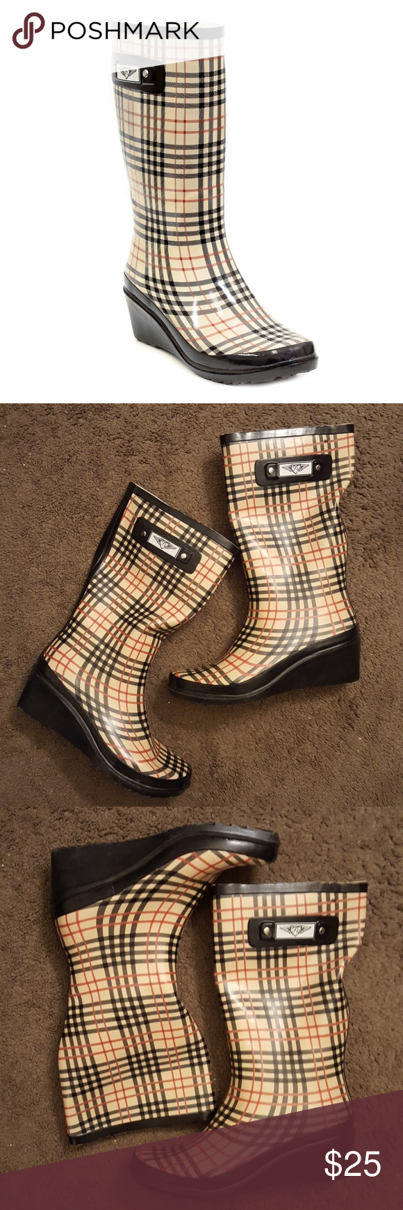 Forever Young Checkered Wedge Rain Boots Size 11 Forever Young Checkered Wedge Rain Boots Size 11. Gently worn once, like new condition. Perfect rain boots with your favorite leggings and boot socks. Glossy & colorful rubber galoshes, easy to clean exterior, soft cotton / polyester lining. Sturdy ribbed rubber sole with a 1.5. Comes with original bag. Forever Young Shoes Winter & Rain Boots
