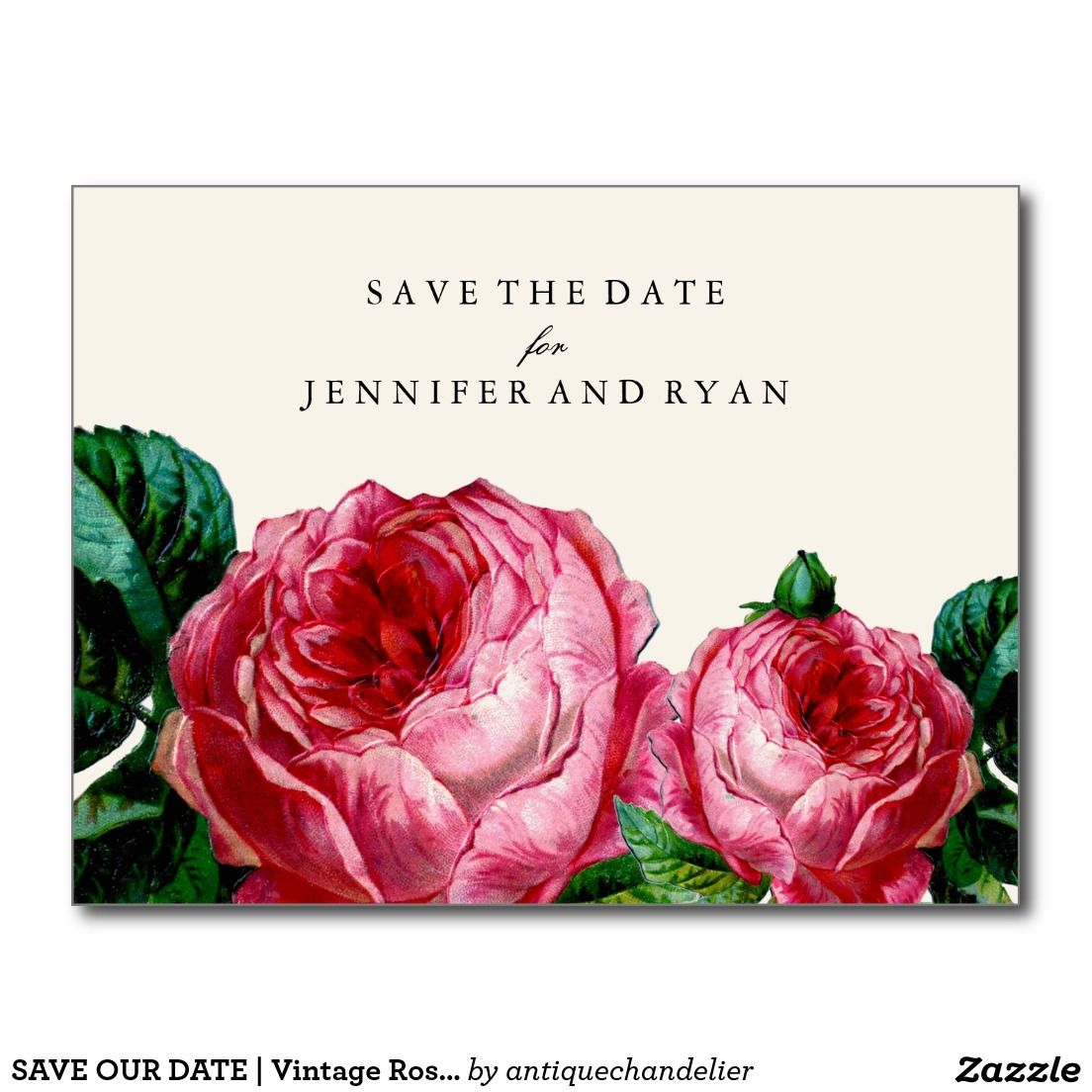 SAVE OUR DATE | Vintage Rose Save the Date Postcard | Weddings