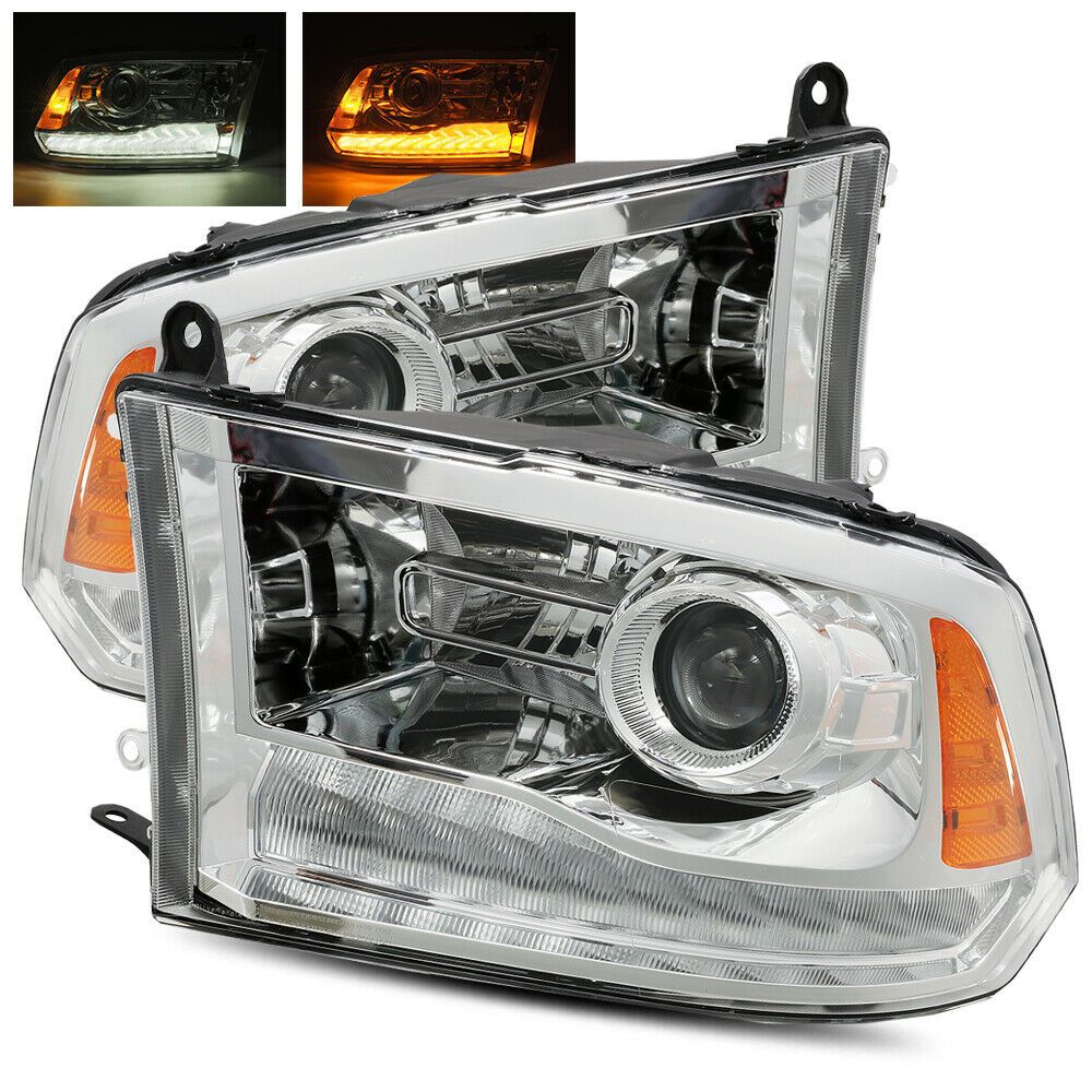 09 18 Ram 1500 10 18 2500 3500 Chrome Projector Headlights Dual