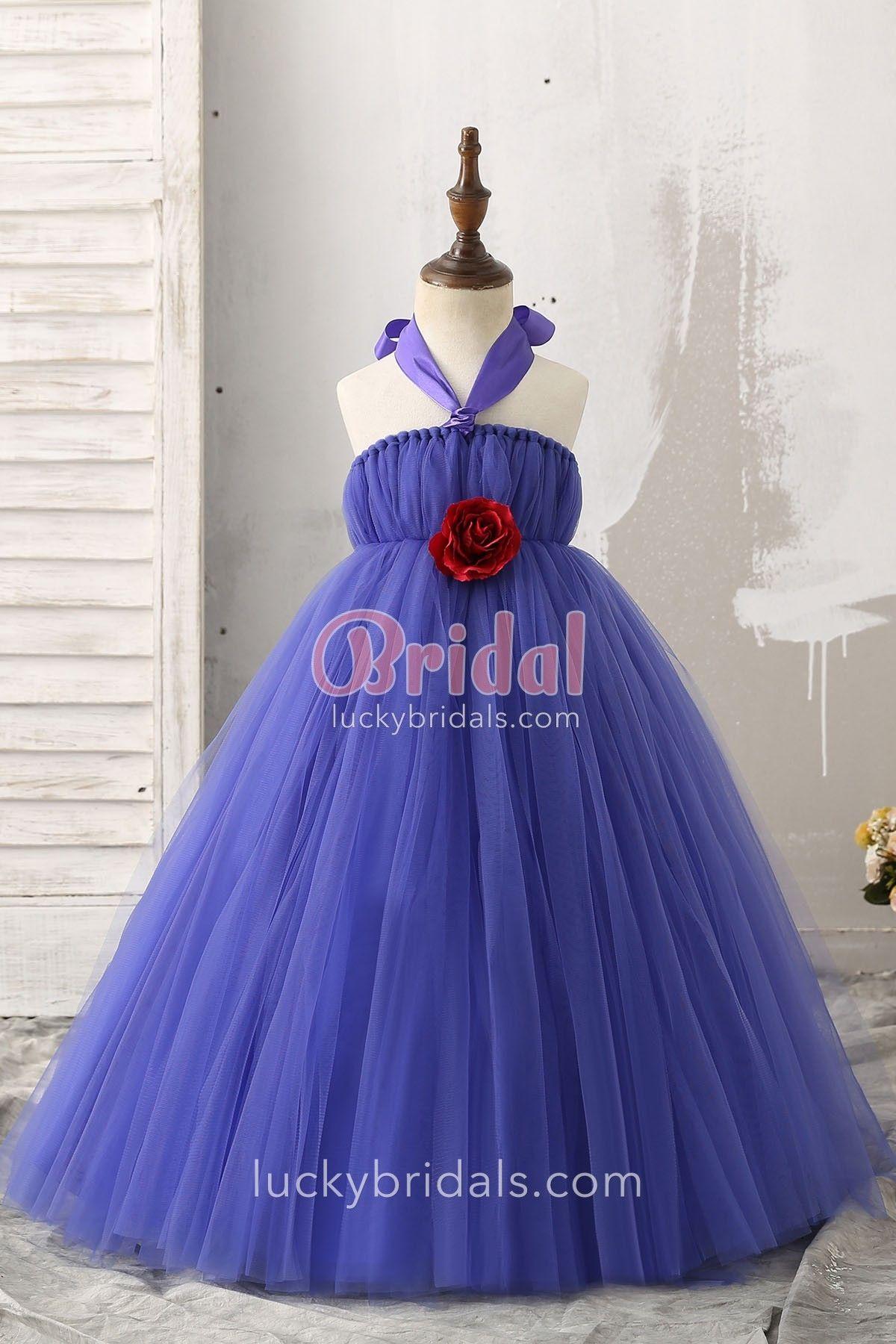 8432075cdd0b Cute 3D Rose Embellished Halter Ball Gown Grape Blue Tulle Flower ...
