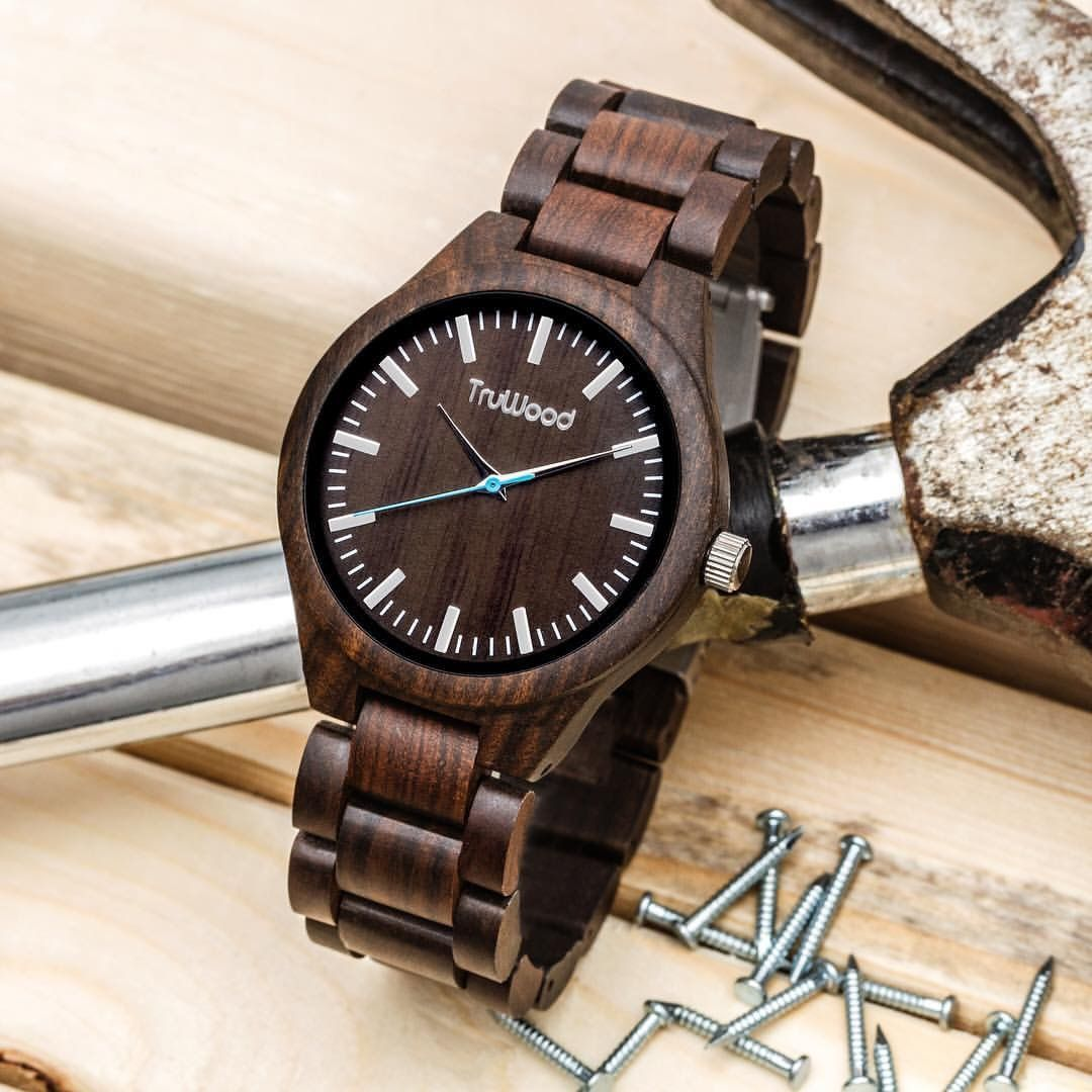 watch theo ebony all products wood steel treehut stainless tree silver hut true watches wooden