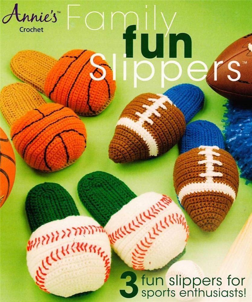 Family Fun Sports Slippers Crochet Pattern Leaflet Instructions ...