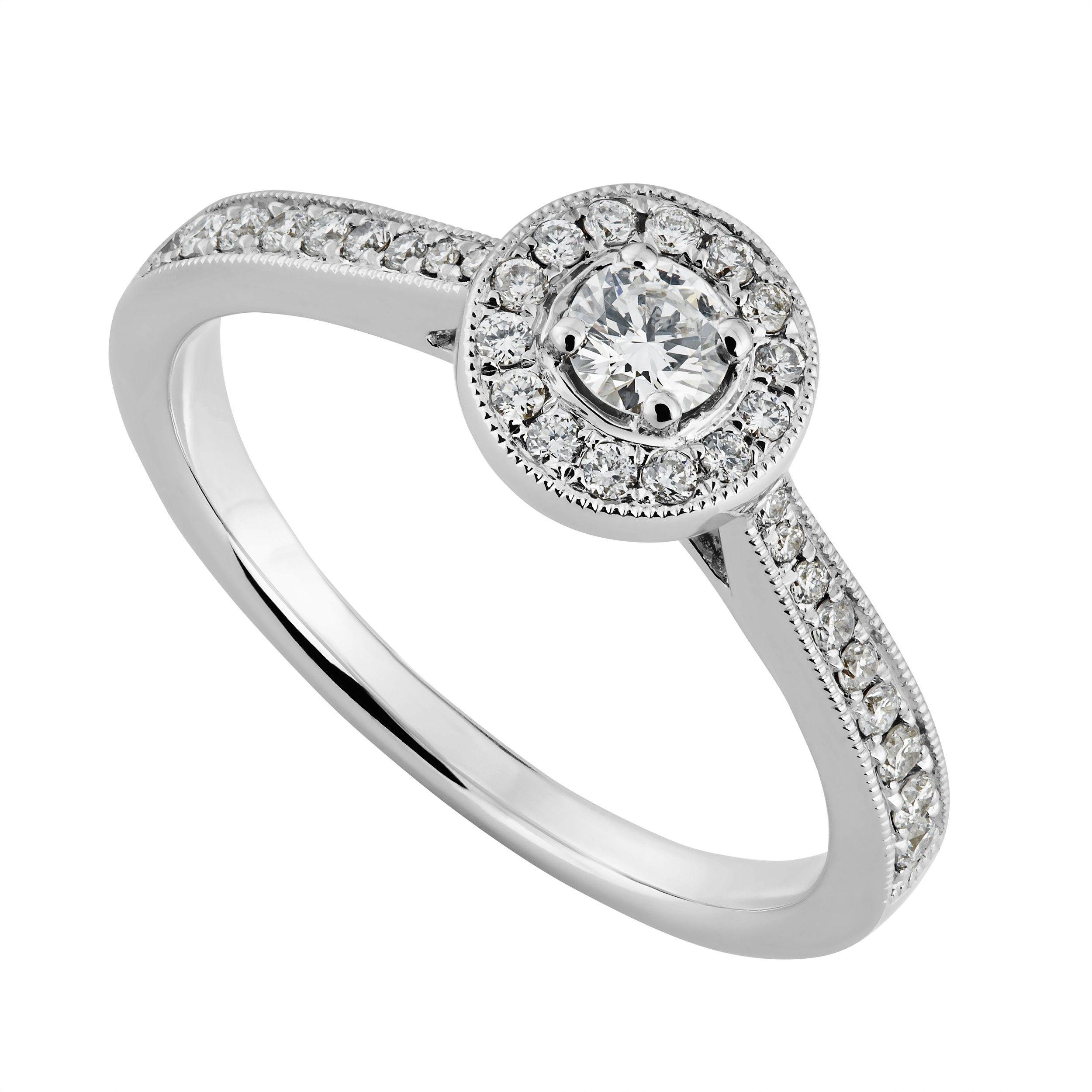 18ct White Gold 034 Carat Diamond Cluster Ring